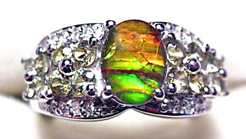 Ammolite Oval Ring Sterling Silver 29SR