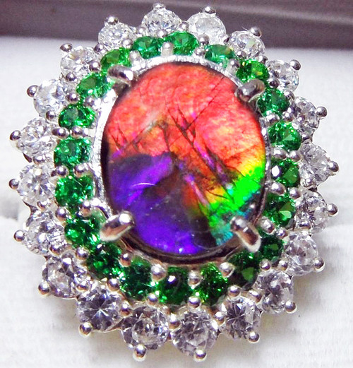Ammolite Oval Ring Sterling Silver 31SR