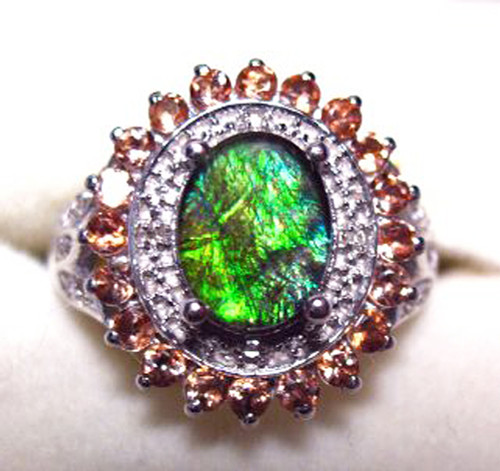 Ammolite Oval Ring Sterling Silver 36SR