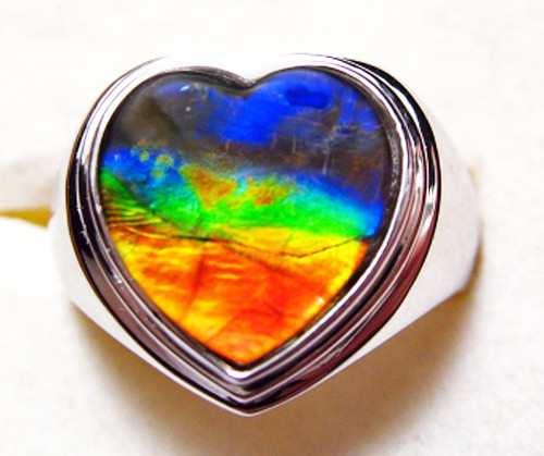 Ammolite Heart Ring Sterling Silver 39SR