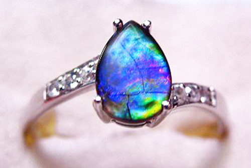 Ammolite Pear Ring Sterling Silver 42SR