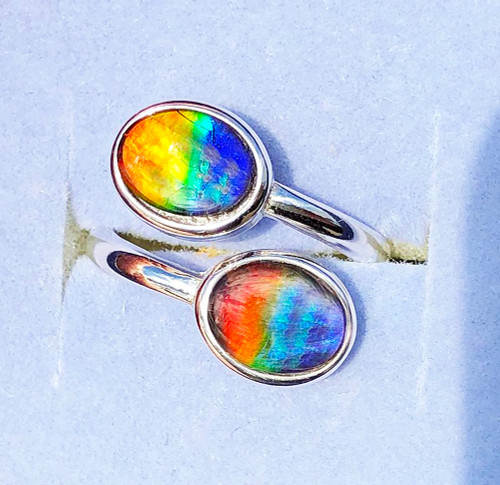 Ammolite Oval Ring Sterling Silver 44SR