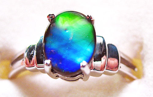 Ammolite Oval Ring Sterling Silver 45SR