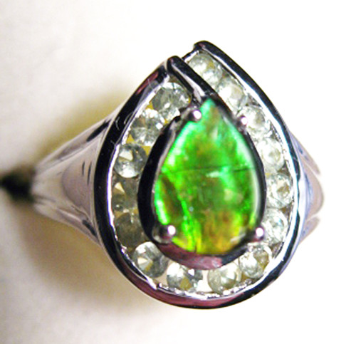 Ammolite Pear Ring Sterling Silver 47SR
