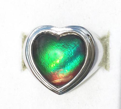Ammolite Heart Ring Sterling Silver 49SR