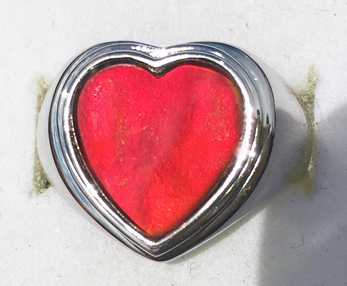 Ammolite Heart Ring Sterling Silver 51SR