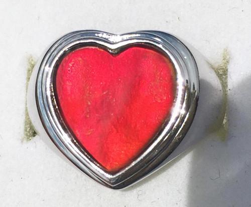 Ammolite Heart Ring Sterling Silver 51SR