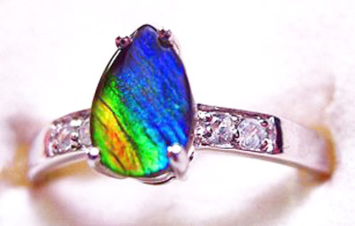 Ammolite Pear Ring Sterling Silver 52SR