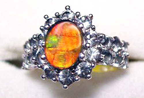Ammolite Oval Ring Sterling Silver 53SR