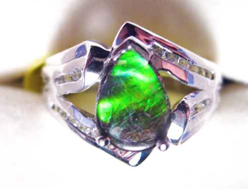 Ammolite Pear Ring Sterling Silver 54SR