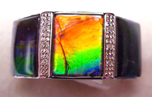 Ammolite Rectangle Ring Sterling Silver 55SR