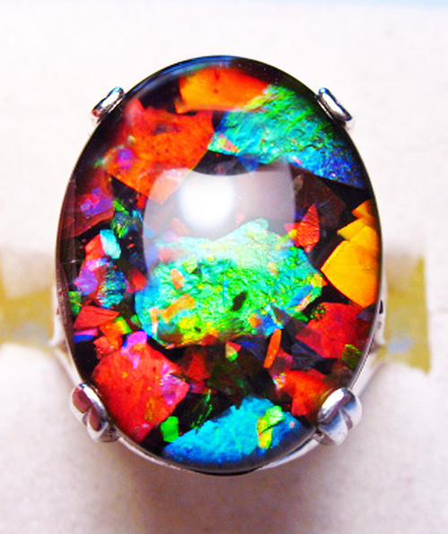 Mosaic Ammolite Oval Ring Sterling Silver 56SR