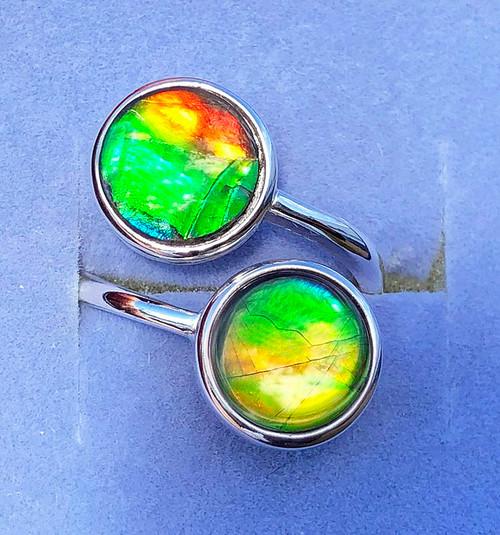 Ammolite Round Ring Sterling Silver 57SR