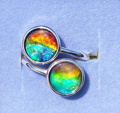 Ammolite Round Ring Sterling Silver 58SR