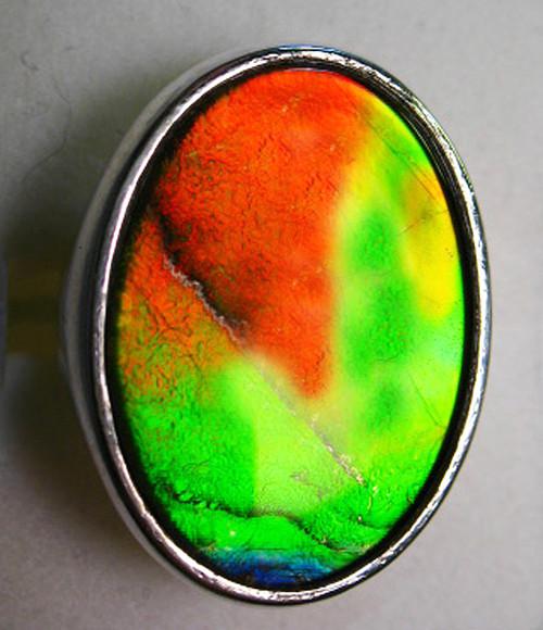 Ammolite Oval Ring Sterling Silver 61SR