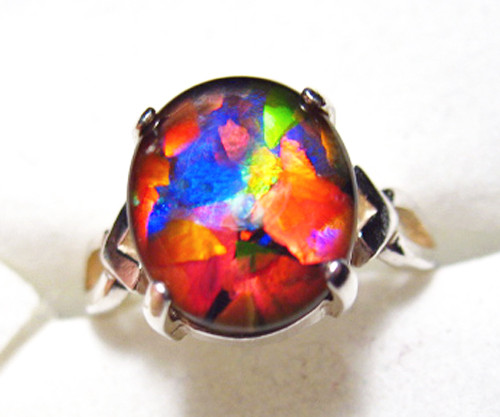 Mosaic Ammolite Oval Ring Sterling Silver 63SR