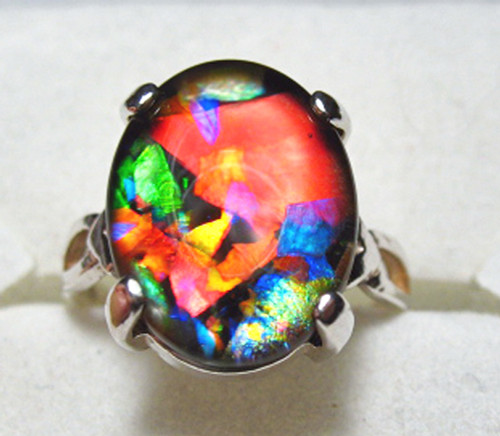 Mosaic Ammolite Oval Ring Sterling Silver 65SR