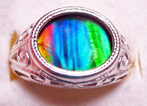 Ammolite Oval Ring Sterling Silver 66SR