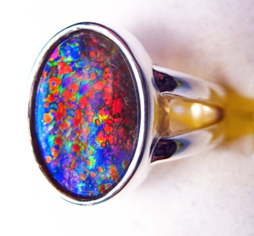 Ammolite Oval Ring Sterling Silver 71SR