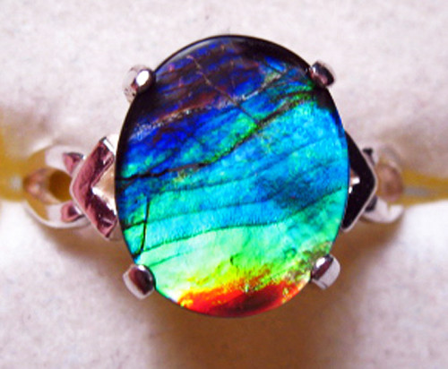 Ammolite Oval Ring Sterling Silver 74SR