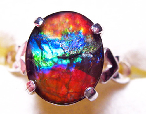 Ammolite Oval Ring Sterling Silver 75SR