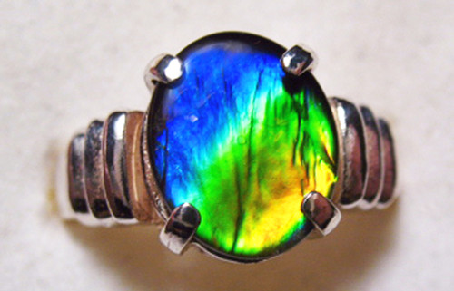 Ammolite Oval Ring Sterling Silver 79SR