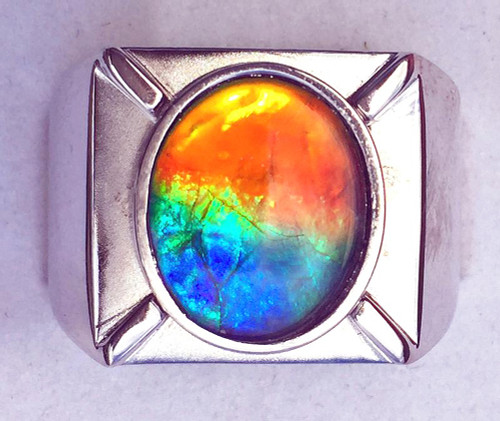 Ammolite Oval Ring Sterling Silver 101SR