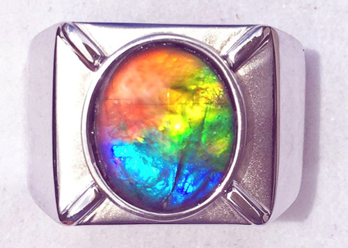 Ammolite Oval Ring Sterling Silver 103SR