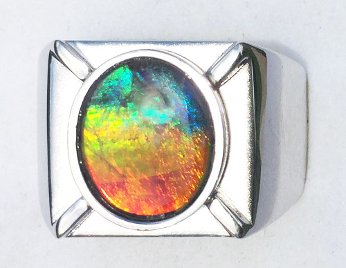 Ammolite Oval Ring Sterling Silver 104SR