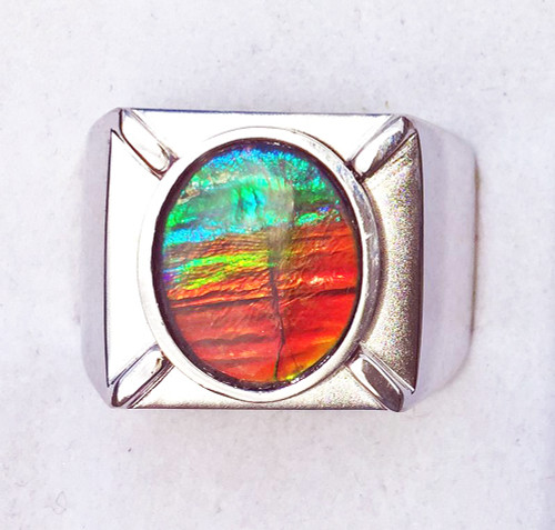 Ammolite Oval Ring Sterling Silver 105SR