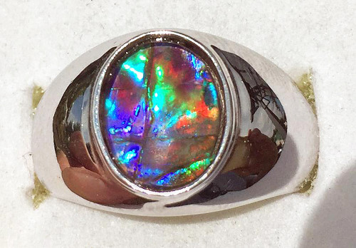 Ammolite Oval Ring Sterling Silver 106SR