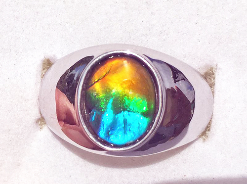 Ammolite Oval Ring Sterling Silver 108SR