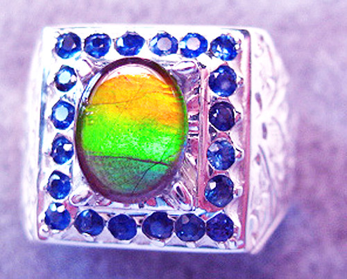 Ammolite Oval Ring Sterling Silver 1SMR