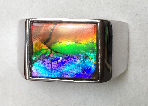 Ammolite Rectangle Ring Sterling Silver 2SMR