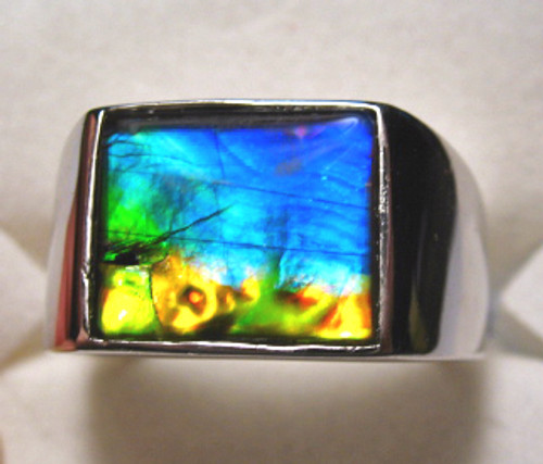 Ammolite Rectangle Ring Sterling Silver 12SMR