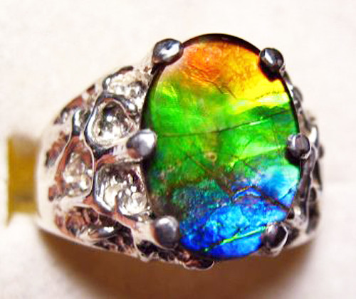 Ammolite Oval Ring Sterling Silver 29SMR