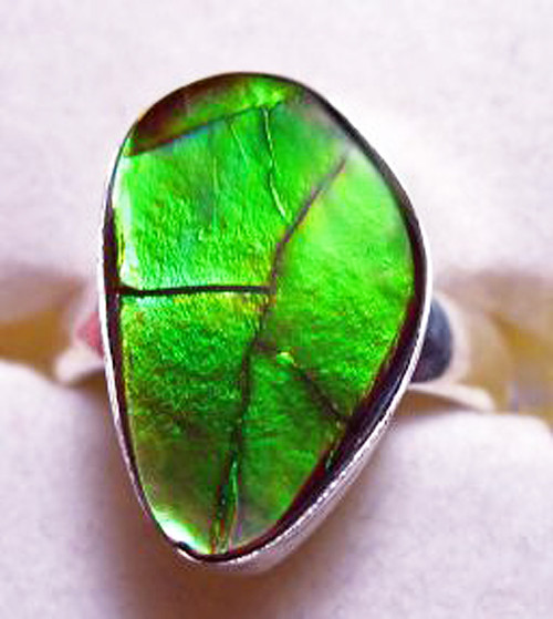 Ammolite Pear Ring Sterling Silver 3CLAR