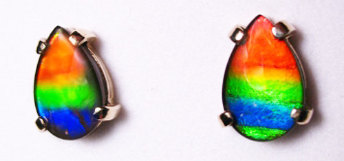 14K Ammolite Pear Stud Earrings 25GE
