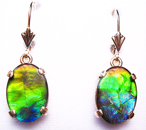 14K Ammolite Oval Dangle Drop Earrings 5GLE