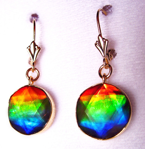 18K Ammolite Faceted Star of David Dangle Drop Earrings 14GLE