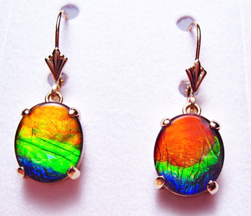 14K Ammolite Oval Dangle Drop Earrings 18GLE
