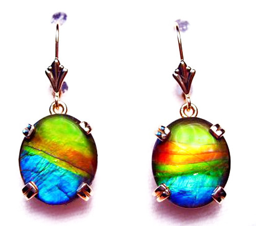 14K Ammolite Oval Dangle Drop Earrings 16GLE