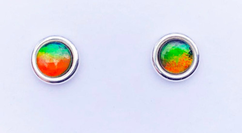 Sterling Silver Ammolite Round Stud Earrings 6SE