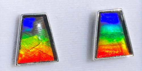 Sterling Silver Ammolite Trapazoid Stud Earrings 7SE