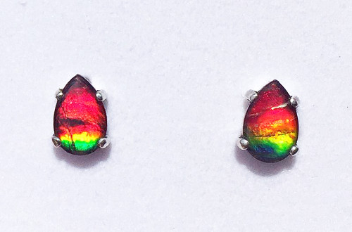 Sterling Silver Ammolite Pear Stud Earrings 10SE