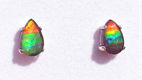 Sterling Silver Ammolite Pear Stud Earrings 15SE