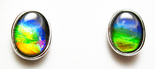 Sterling Silver Ammolite Oval Stud Earrings 21SE