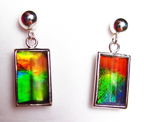 Sterling Silver Ammolite Faceted Rectangle Drop Earrings 32SE