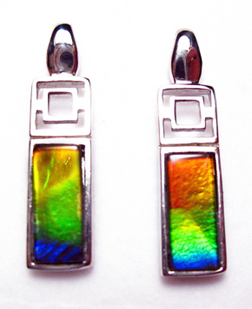 Sterling Silver Ammolite Rectangle Stud Earrings 41SE