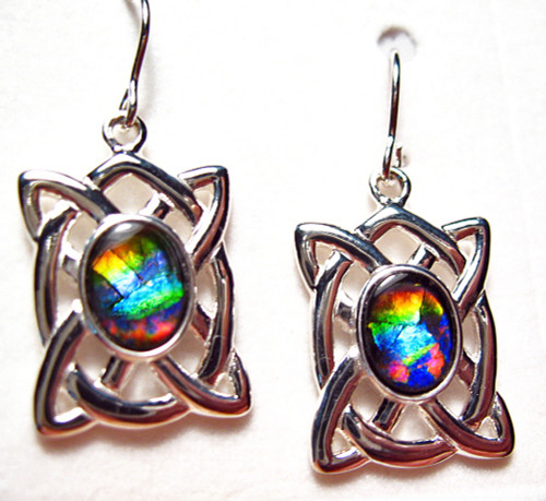 Sterling Silver Oval Ammolite Celtic Drop Dangle Earrings 1SLE